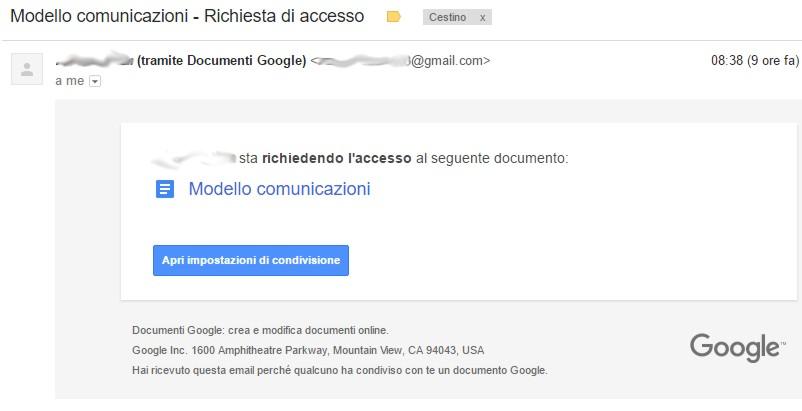 Un esempio di messaggio inviato automaticamente dal sistema nel caso qualcuno abbia tentato di accedere a un documento senza averne l'abilitazione.
