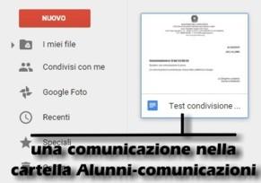 Comunicazione nella cartella Alunni - comunicazioni